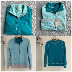 Tommy Bahama reversible pull over zipper top sz s